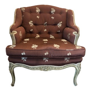 Late 19th Century Vintage Louis XV Style Painted Grand Bergere For Sale