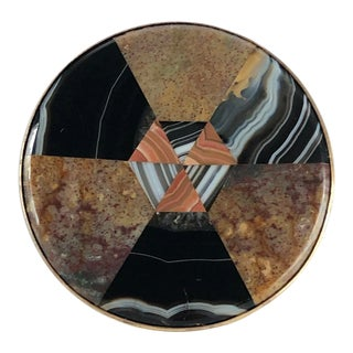 Antique Round Plaid Scottish Inlaid Agate Chalcedony Snuff Box – Victorian For Sale