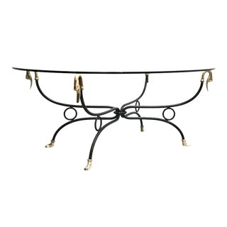 Hollywood Regency Brass & Iron Glass Top Coffee Table For Sale