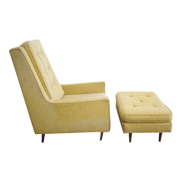 Mid-Century High Back Arm Chair & Ottoman - A Pair For Sale