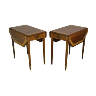 Federal Style Vintage Custom Crafted Inlaid Mahogany Pair Pembroke Side Tables For Sale