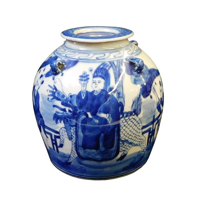 "This is a Chinese decorative teapot display in blue and white. Features a riding Kirin graphic. Dimensions: 8""x 6.5""x..."