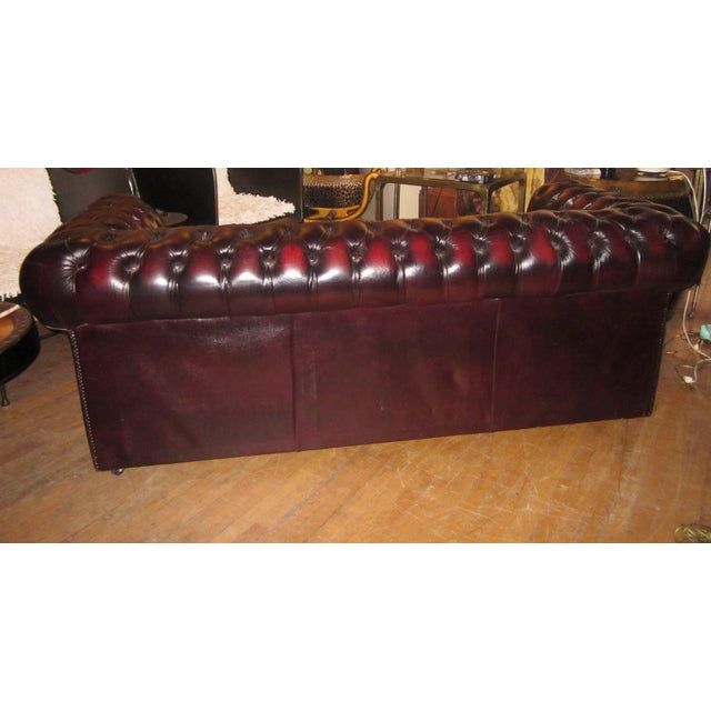 Vintage 20th Century Oxblood Burgundy Classic Tufted English Chesterfield Sofa For Sale - Image 9 of 11
