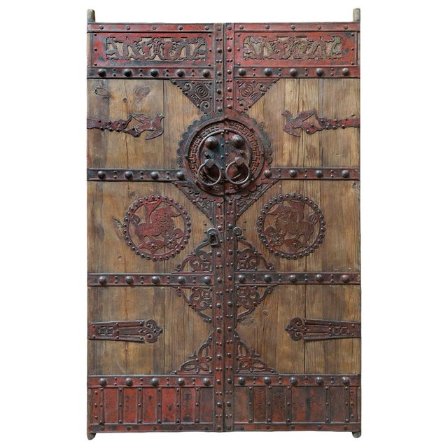 Vintage Chinese Wooden Temple Doors With Iron Hardware For Sale