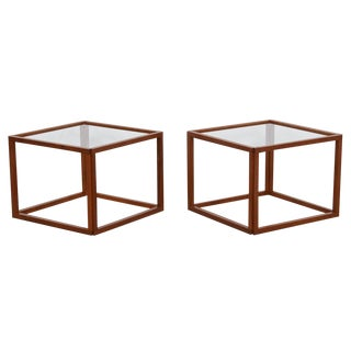 Pair of Danish Teak Open Frame Cube Tables W/ Glass Top