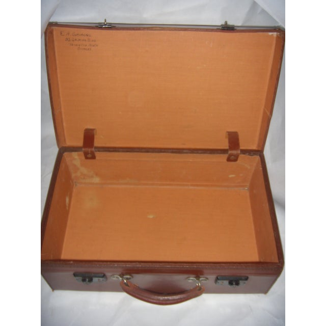 Vintage English Brown Leather Suitcase - Image 8 of 11