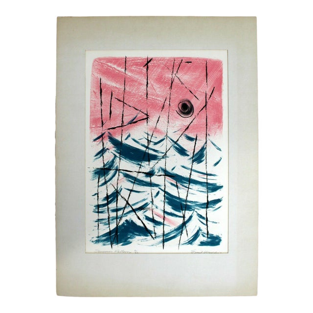 """Mid Century Modern """"Summer Patterns"""" by Emil Weddige Unframed Lithograph For Sale"""
