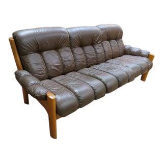 Vintage Mid Century Modern Ekornes Scandinavian Solid Teak and Leather Sofa For Sale