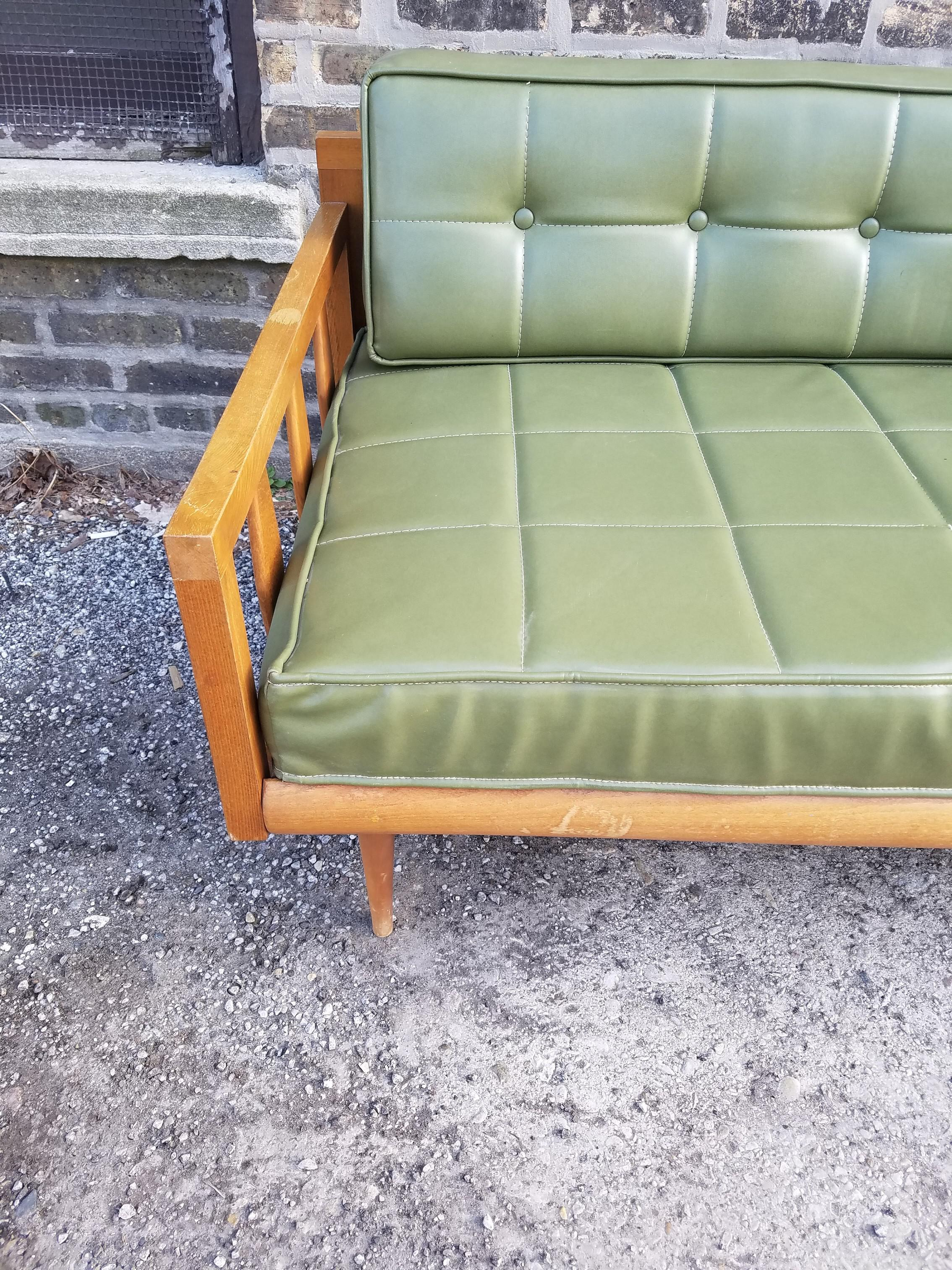 Vintage Green Vinyl Mid Century Couch / Daybed   Image 5 Of 8