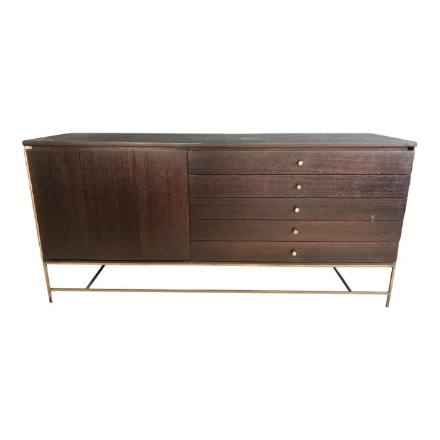 Mid Century Paul McCobb for Calvin Irwin Collection Dark Brown Finish and Brass Buffet For Sale