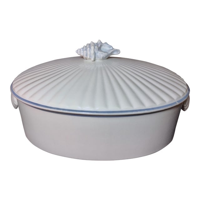 1970s Nautical Shell Motif Oven-To-Table 3qt Porcelain Casserole by Shafford Japan For Sale