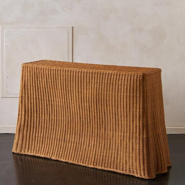 Modern Trompe l'Oleil Wicker Draped Console Table For Sale - Image 3 of 8