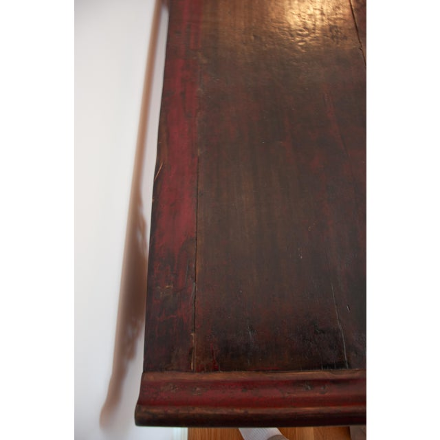 Chinese Red Altar Console Table For Sale - Image 4 of 13