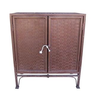 20th Century Industrial 2-Door Woven Iron Cabinet For Sale