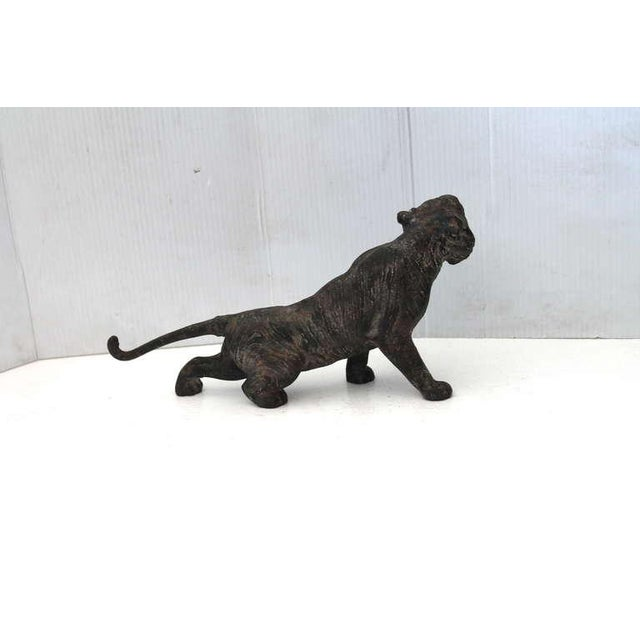 Metal Rare 19th Century Iron Tiger Door Stop with Glass Eyes For Sale - Image 7 of 8
