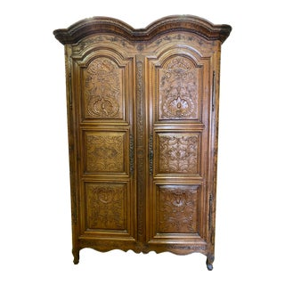 18th Century Country French Carved Armoire For Sale