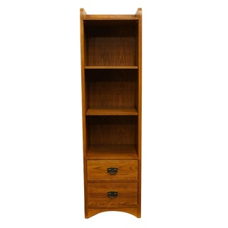 20th Century Traditional Thomasville Furniture Impressions Collection Oak Accent Pier Bookcase For Sale
