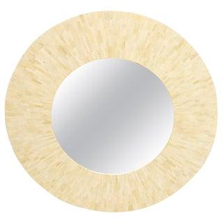 Large Round Sunburst Shape Bone Tiles Mirror For Sale