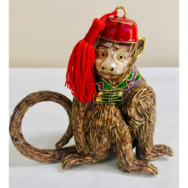 Asian Cloisonne Monkey Napkin Rings-Set of 4 For Sale - Image 3 of 5