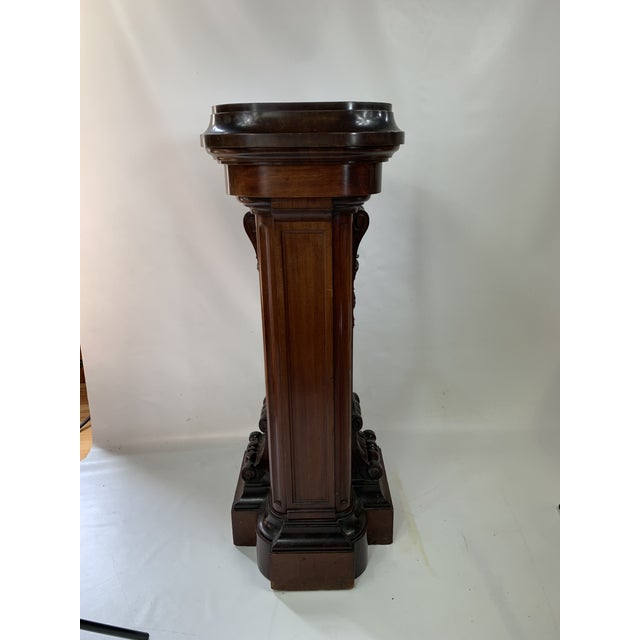 Traditional 1870s Victorian Carved Mahogany Pedestal For Sale - Image 3 of 13