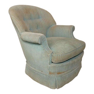 1950s Vintage Green Fabric Chair For Sale