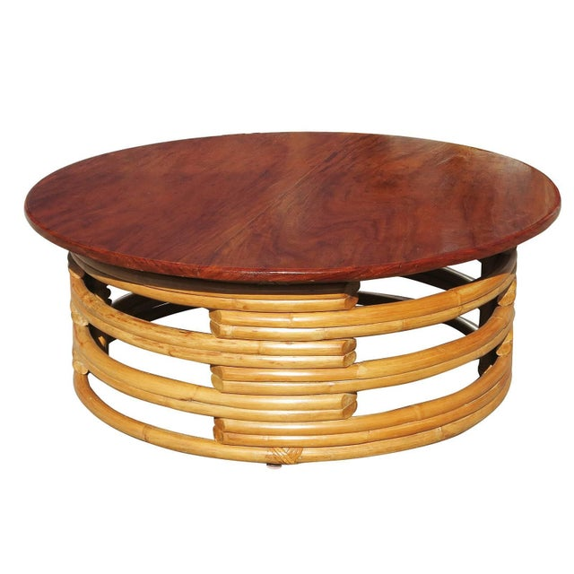 Mid-Century Modern Restored Round Rattan Coffee Table With Mahogany Top For Sale - Image 3 of 6