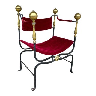 Mid-Century Spanish Iron Savonarola Chair With Brass Accents and Red Velvet For Sale