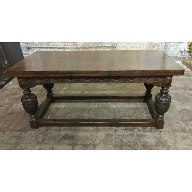 Mid 18th Century 18th Century English Oak Jacobean Style Draw Leaf Refectory Table Size For Sale - Image 5 of 10
