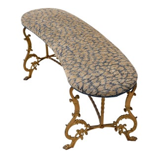 Gilt Iron Bench in Indigo Blue Leopard For Sale