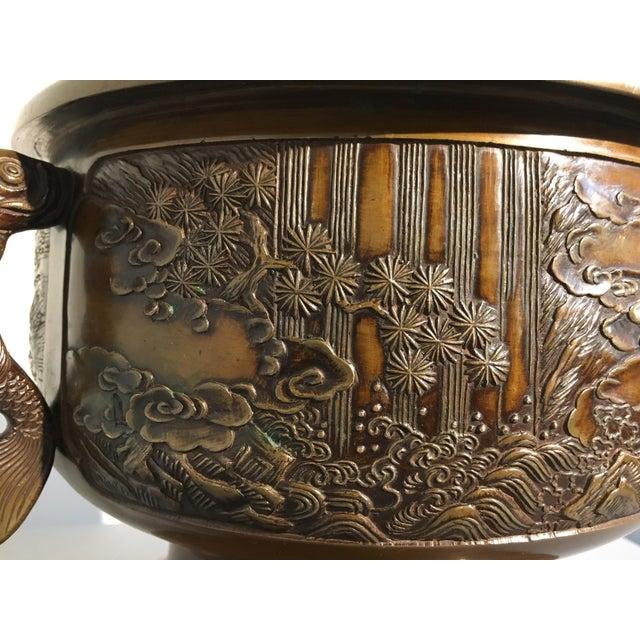 Late 19th Century Japanese Cast Bronze Hibachi Jardiniere, Meiji Period For Sale - Image 5 of 11