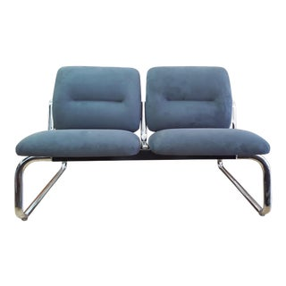 1980s Vintage Tubular Chrome and Microfiber Loveseat For Sale