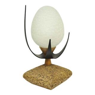 Lynard of California Cork Crackled Glass Walnut Atomic Era Modern Egg Table Lamp For Sale