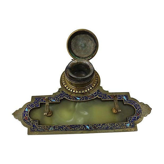 Antique French Cloisonné Inkwell - Image 2 of 3
