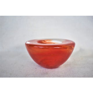 1980s Vintage Kosta Boda Red Swirl Tea Light Holder Preview
