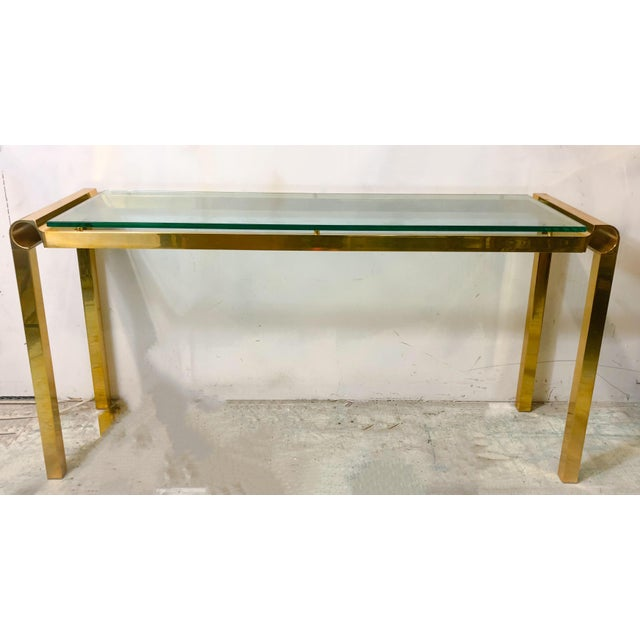 Mid-Century Modern Brass & Glass Console Table - Image 3 of 4