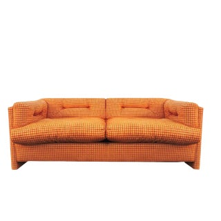 Final Markdown 1970s Vintage John Mascheroni Citrus Orange Grid Loveseat For Sale