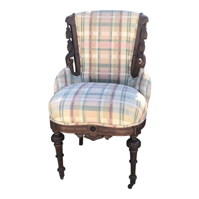 Antique Eastlake Plaid Upholstered Side Chair For Sale