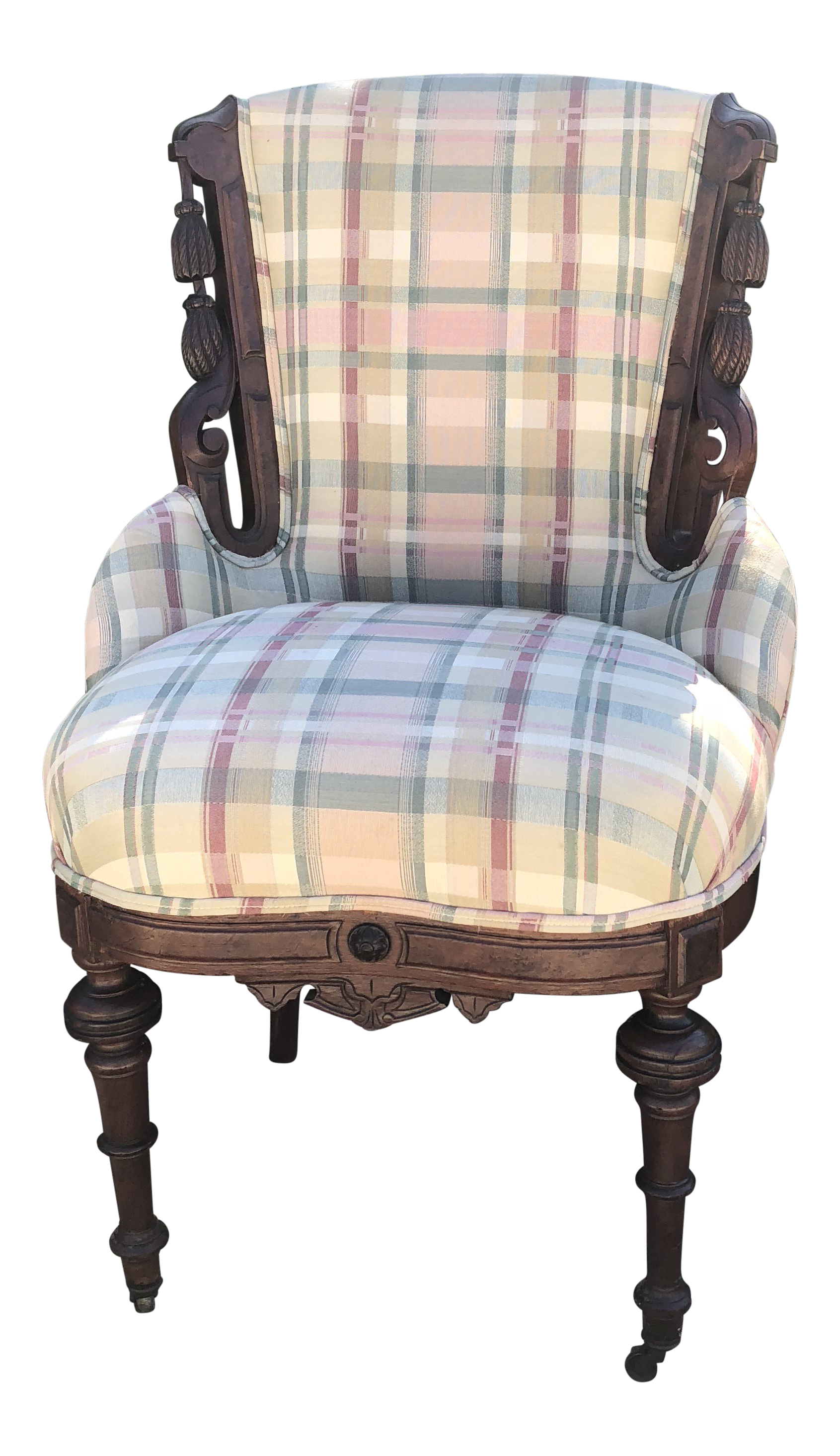 Antique Eastlake Plaid Upholstered Side Chair