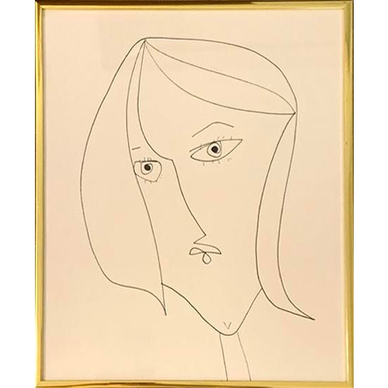 This contemporary portrait of a lady is framed in a vintage gold metal frame. 10 in. wide x 12 in. high, wired and ready...