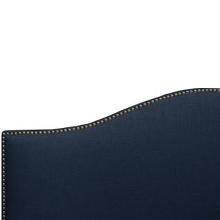 Linen Navy Queen Nail Button Bed Preview