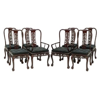 Chinese Chippendale Style Mahogany Dining Chairs - Set of 8 For Sale