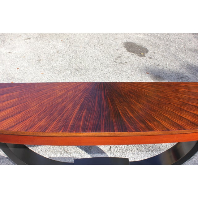 1940s Art Deco Exotic Macassar Ebony ''Sunburst'' Console Table For Sale - Image 11 of 13