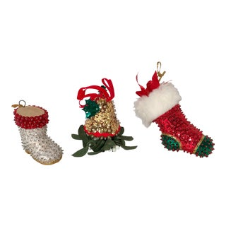 20th Century Americana Handmade Beaded and Sequined Ornaments - Set of 3 For Sale