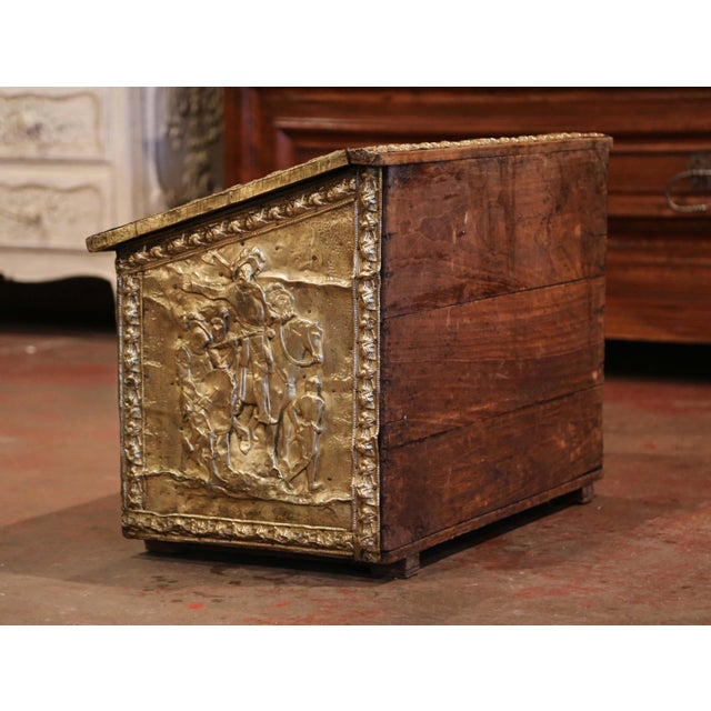 19th Century French Repousse Copper and Wood Box With Tavern Scenes For Sale In Dallas - Image 6 of 8