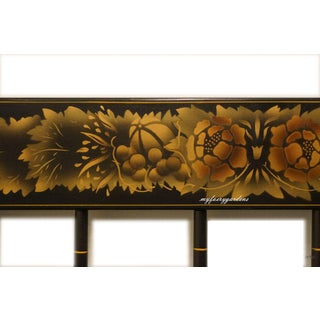 20th Century Folk Art Hitchcock American Made Black Stenciled Twin Size Headboard Preview