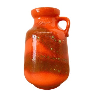 1960s Mid-Century Modern Carstens Tonnieshof Fat Lava Orange Jug-Handled Vase For Sale