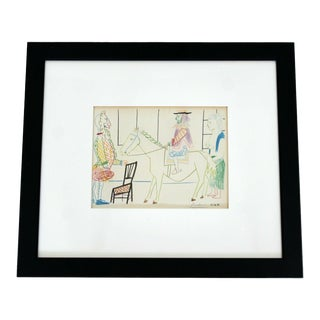 1950s Mid Century Modern Pablo Picasso King on White Horse Signed Framed Lithograph For Sale