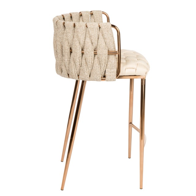 Fabulous Modern Milano Off White And Gold Counter Chair Alphanode Cool Chair Designs And Ideas Alphanodeonline