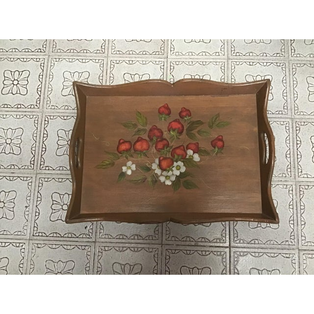 Mid-Century Modern 19th Century Large Hand Painted Wood Serving Tray Fruit Painted Serving Tray Decorative Serving Tray For Sale - Image 3 of 12