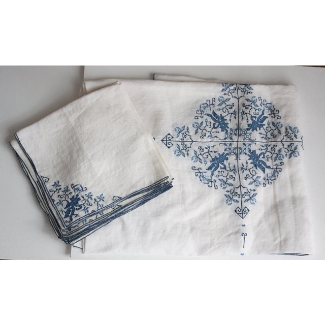 Hand-Embroidered Linen Tablecloth & Napkins - 9 - Image 2 of 5